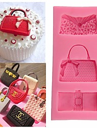 cheap -Random Color Fashion Bags Fondant Chocolate Mold Silicone Mold Fondant Cake Decoration Molds