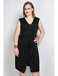 cheap -Really Love Women's Daily Holiday Plus Size Vintage Cute Sexy A Line Shift Sheath Dress,Solid V Neck Midi Asymmetrical Sleeveless Polyester Spandex