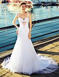 abordables -Trompeta / Sirena Correas Capilla Tul Vestidos de novia hechos a medida con Cuentas / Apliques por LAN TING BRIDE® / Espalda Bonita