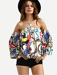 cheap -Women's Polyester Shirt Print Boat Neck