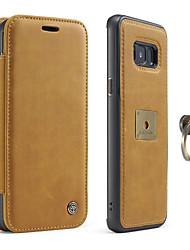 economico -Custodia Per Samsung Galaxy S8 Plus S8 Porta-carte di credito Supporto ad anello A calamita Integrale Tinta unica Resistente Vera pelle
