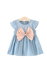 cheap -Girl's Bowknot Dress, Acrylic Denim Autumn/Fall Summer Short Sleeves Bow White Blushing Pink