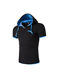 cheap -Men's Daily Casual T-shirt,Color Block Hooded Short Sleeves Cotton