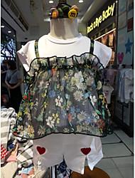 cheap -Girls' Blouse, Cotton Summer Short Sleeves Light Green
