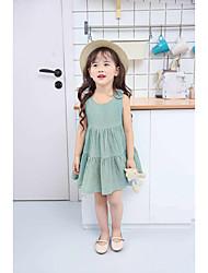 baratos -Menina de Vestido Sólido Verão Algodão Sem Manga Laço Verde Claro