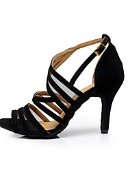 cheap -Women's Flocking Sandal Buckle Stiletto Heel Customizable Dance Shoes Black / Practice