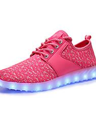 Damen Sneaker Leuchtende LED-Schuhe Tüll Frühling Herbst Normal Walking Flacher Absatz Fuchsia Rosa Schwarz/weiss Schwarz/Rot Flach
