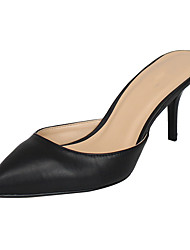 Unisex Sandals PU Summer Stiletto Heel Black 3in-3 3/4in