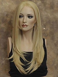 Long Natural Straight Blonde Replacement Hair Wig For Women Heat Resistant Fiber Hair Half Hand Tied 22 Inches