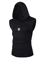cheap -Men's Daily Active Spring Summer T-shirt,Solid V Neck Short Sleeves Organic Cotton Medium