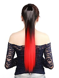 cheap -Neitsi 1Pcs 22'' 115g Striaght Wrap Around Ponytail Hair Extensions Synthetic Ombre T-Red#