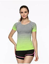 Mulheres Camiseta de Trilha Fitness, Corrida e Yoga Secagem Rápida Camiseta Blusas para Correr Verão M L XL
