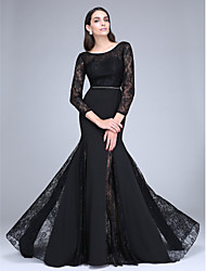 cheap -Mermaid / Trumpet Scoop Neck Sweep / Brush Train Polyester Lace Formal Evening Dress with Crystal Detailing Lace by TS Couture®