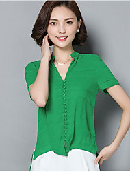 cheap -Women's Daily Work Casual Summer Shirt Pant Suits,Solid V Neck Short Sleeve 100% Cotton