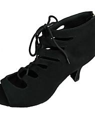 Women's Latin Nubuck leather Sandal Indoor Customized Heel Black Dark Blue Red Customizable