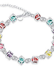 cheap -Women's Cubic Zirconia Synthetic Opal Stainless Steel Zircon Silver Plated Chain Bracelet Charm Bracelet - Tattoo Style Vintage Bohemian
