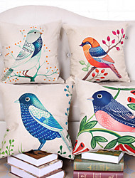 Set Of 4 Northern Europe Style Bird Pillow Case Classic Cotton/Linen Pillow Cover