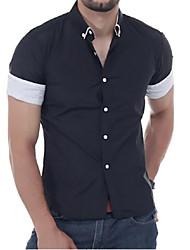 Недорогие -Муж. Повседневные Лето Рубашка, Рубашечный воротник На каждый день Однотонный С короткими рукавами Полиэстер