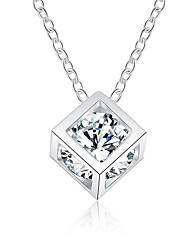 cheap -Men's Women's Square Shape Fashion Statement Necklace Zircon Silver Plated Statement Necklace Daily