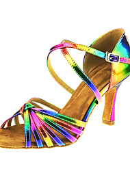 cheap -Women's Latin Shoes Leather Sandal Performance Buckle / Criss-Cross Cuban Heel Customizable Dance Shoes Rainbow
