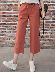Women's High Rise Micro-elastic Chinos Pants,Vintage Wide Leg Solid
