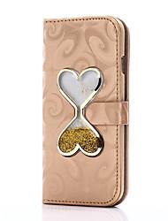 Недорогие -Для iphone 7 7 плюс чехол чехол карты держатель кошелек с подставкой сердце сдвигающаяся песочная воронка флип pu кожаный чехол для iphone