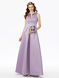 A-Line Notched Floor Length Satin Bridesmaid Dress with Pleats Pocket by LAN TING BRIDE®