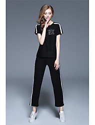 NEDO Women's Casual/Daily Holiday Simple Street chic Active Spring Summer T-shirt Pant SuitsColor Block Letter Round Neck Long Pant