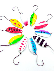 cheap -HiUmi Lot 10 pcs 4cm 6g Colorful Trout Lure Fishing Spoon Bait Single Hook Metal Fishing Lure Fishing Tackle Swimbait