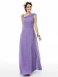 cheap -Sheath / Column One Shoulder Floor Length Chiffon Bridesmaid Dress with Sash / Ribbon Pleats by LAN TING BRIDE®