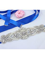 Satin Wedding Party/ Evening Dailywear Sash-Beading Appliques Rhinestone Imitation Pearl Beading Appliques Rhinestone Imitation Pearl