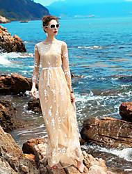 Ample Robe Femme Soirée Sortie Décontracté / QuotidienFleur Col Arrondi Maxi Manches Longues Polyester Spandex Printemps AutomneTaille