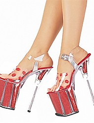 cheap -Women's Heels Club Shoes PVC Summer Fall Party & Evening Dress Stiletto Heel Red/White Red/White Red White 5in & over