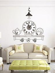 Недорогие -современный стиль дий мультфильм набор чая немой стены часы настенные часы украшения