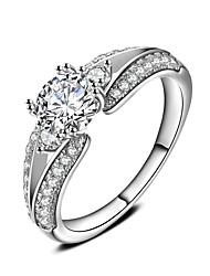Кольцо Обручальное кольцо Цирконий Круг Платина Цирконий Круглой формы Бижутерия Для Свадьба Для вечеринок 1 набор