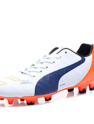 Soccer Shoes Men's Athletic Shoes Comfort PU Spring Outdoor  Lace-up Flat Heel Black/Red Blue Orange Black Under 1in