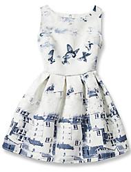 Недорогие -Девичий Платье Хлопок Геометрический принт Мода Лето Без рукавов С цветами Бант Белый