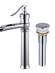 cheap -Contemporary Centerset Pre Rinse Waterfall Widespread Ceramic Valve Single Handle One Hole Chrome, Faucet Set