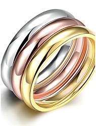 Недорогие -Жен. Титановая сталь Обручальное кольцо / Кольцо - Круглый Свадьба / Мода / Простой стиль Золотой Кольцо Назначение Новогодние подарки /