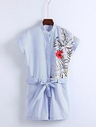baratos -Mulheres Para Noite Moda de Rua Macacão - Côr Pura Listas Estampado Bordado, Listrado Bordado Colarinho de Camisa