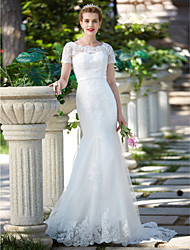 cheap -Mermaid / Trumpet Jewel Neck Sweep / Brush Train Lace Tulle Wedding Dress with Beading Appliques Sash / Ribbon by LAN TING BRIDE®