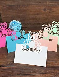cheap -40pcs Bear Laser Cut Baby Shower Party Table Name Place Cards Birthday Party Decoration Wedding Favors Party Supplies