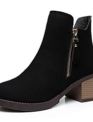 Women's Shoes Leather Winter Basic Pump Boots Chunky Heel Round Toe For Casual Black Yellow