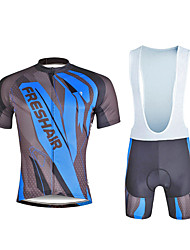 cheap -ILPALADINO Men's Short Sleeves Cycling Jersey with Bib Shorts Bike Clothing Suits, Quick Dry, Ultraviolet Resistant, Reflective Strips,
