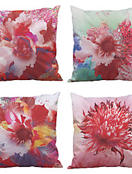 cheap -Set of 4  European Flower Pattern Rayon Material (100% Polyester) Looks Like Silk Feeling Square Throw Pillow Cases Sofa Cushion Cover (18*18inch)