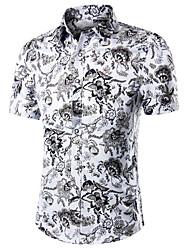 Недорогие -Муж. Офис С принтом Большие размеры - Рубашка Хлопок Огурцы / С короткими рукавами