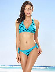 cheap -Women's Polka Dot Dot Halter Bikini Swimwear Blue Black