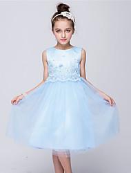 Недорогие -принцесса колено длина цветок девушка платье - сатин тюль без рукавов жемчужина шеи с жемчужиной bflower