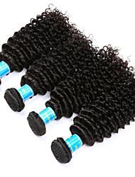 Недорогие -Натуральные волосы Индийские волосы Человека ткет Волосы Kinky Curly Наращивание волос 4 предмета Черный