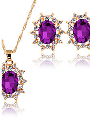 Women's Jewelry Set Pendant Necklaces Bridal Jewelry Sets AAA Cubic Zirconia Euramerican Fashion Classic Zinc Alloy Taper Shape 147